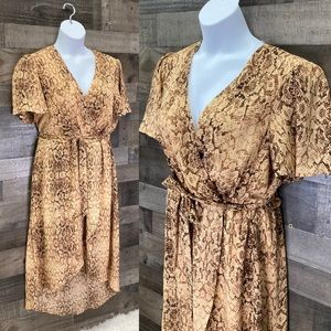 NWT June & Hudson Snake Skin Faux Wrap Dress